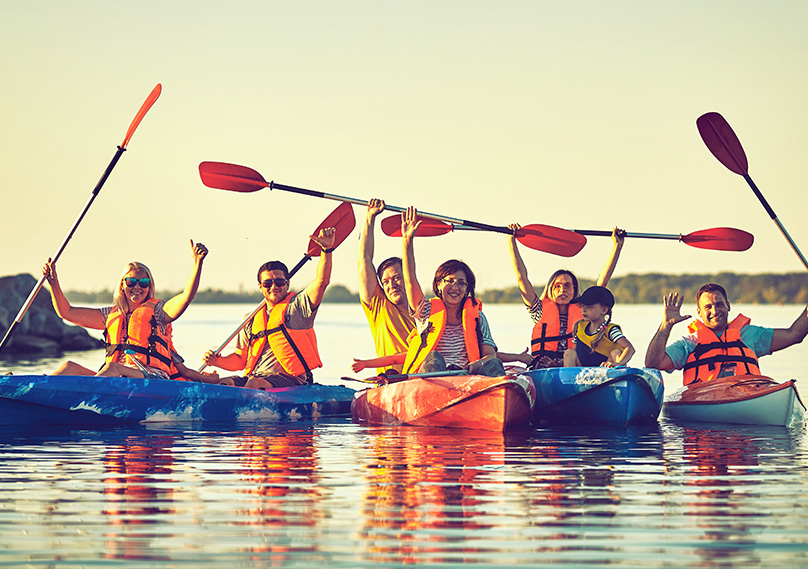 Kayaking is also fun in groups and family