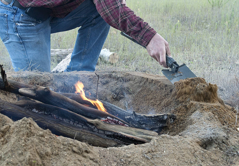 Build your campfire base using rocks or soil